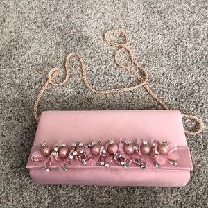Blush evening bag w/pearl & rhinestone detail